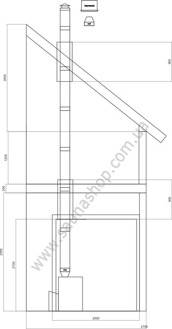 Стандартный проход дымовых труб через перекрытие и крышу