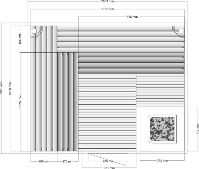 Проект сауны со сложным дизайном полок